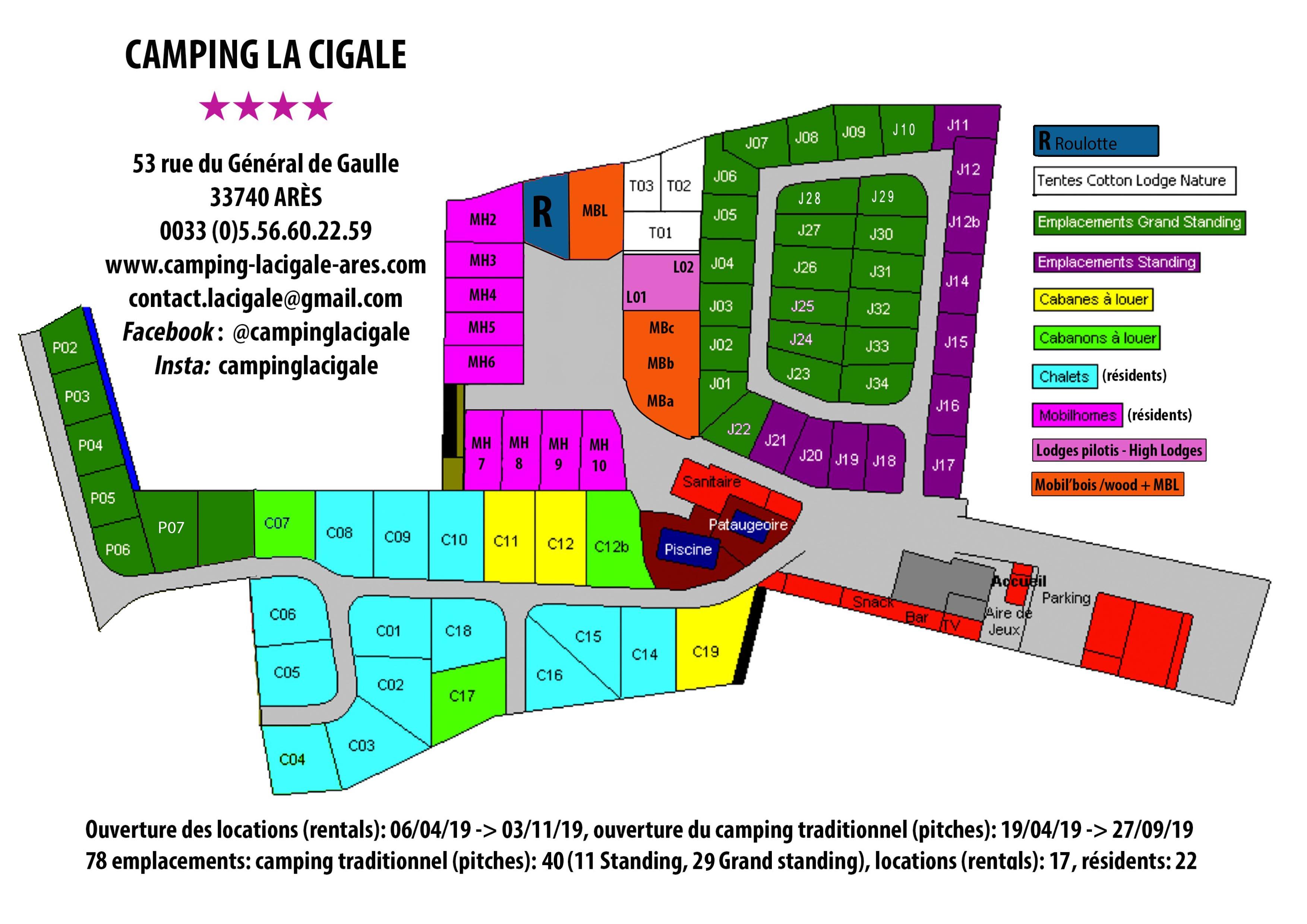 Plan Camping Bassin d'Arcachon La Cigale