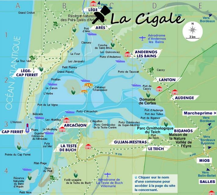 carte bassin d'arcachon Ares La Cigale Arès